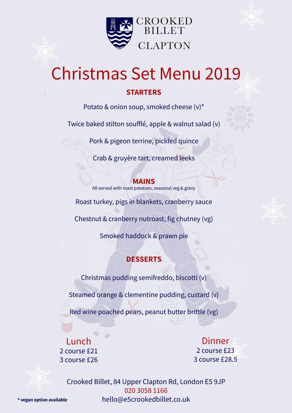 Book your Christmas meal at the Crooked Billet